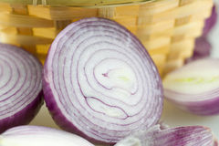 Cut the onion. Meat with onion bulb hypertrophy of organs for food, nutrition rich Royalty Free Stock Image