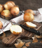 Cut onion on cooking board Royalty Free Stock Photography