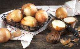 Cut onion on cutting board Royalty Free Stock Photo