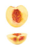 Cut open nectarine half isolated Stock Photo