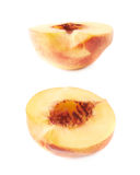 Cut open nectarine half isolated Royalty Free Stock Image
