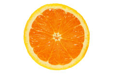 Cut orange. Half an orange isolated on white stock photography