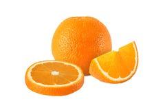 Cut orange fruits isolated on white background Stock Image