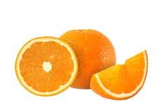 Cut orange fruits isolated on white b. Ackground stock image