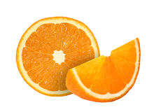 Cut orange fruits isolated on white. Background Stock Photo