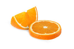 Cut orange fruits isolated on white. Background Royalty Free Stock Photography