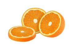 Cut orange fruits isolated on white background Stock Photography