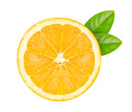 Cut into  orange. S with green  leafs isolated on white background Royalty Free Stock Photo