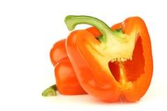 Cut orange paprika(capsicum) Royalty Free Stock Image