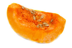 Cut orange pumpkin with seed Stock Image