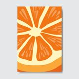 Cut orange template card, slice fresh fruit poster on white background, magazine cover vertical layout brochure poster. Flat design, healthy lifestyle or diet royalty free illustration