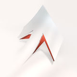 Cut out arrow red. 3D rendering of an arrow paper cut out in red and white Stock Image