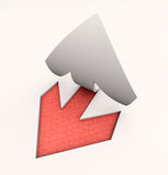 Cut out arrow red. 3D rendering of an arrow paper cut out in red and white Stock Images
