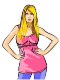 Cut out of a blonde woman standing hand on waist Stock Images