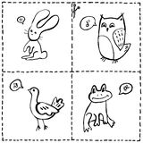 Cut out cards with cute animals Royalty Free Stock Photography