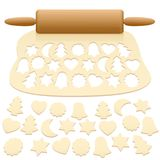Cut Out Christmas Cookies Raw Dough. Cut out christmas cookies from raw pastry dough - isolated vector illustration on white background Stock Photos
