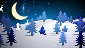 Cut out fir tree forest and flying santa stock video