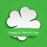 Cut out four leaf clover attached in the green paper pocket. St Patricks Day card. EPS10 vector illustration.  Royalty Free Stock Images