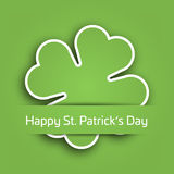 Cut out four leaf clover attached in the green paper pocket. St Patricks Day card with text label. EPS10 vector. Illustration Royalty Free Stock Photos