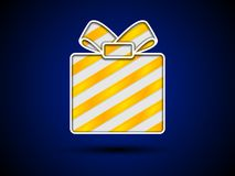 Cut out gift box with golden ribbons Royalty Free Stock Images