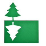 Christmas tree. Cut out of green paper Christmas tree royalty free stock photos