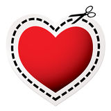 Cut out heart red Stock Photography
