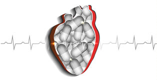 Cut Out Heart With Pills Stock Photo