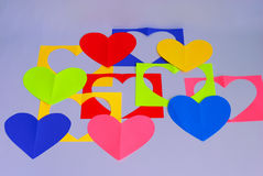 Cut out hearts on white. Stock Images
