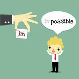 Cut out impossible. Businessman with happy emotion who speak impossible and big hand wich cut out word im the result is possible Stock Photos