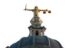 Cut out Justice On The Old Bailey, London Royalty Free Stock Photos
