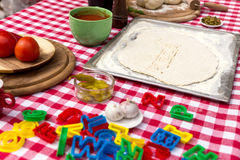 Cut out letters with dough Stock Image