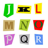 Cut out letters J to R. Colorful alphabet cut out from magazine letters J to R in high resolution stock illustration