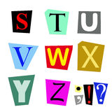 Cut out letters S to Z. Colorful alphabet cut out from magazine letters S to Z in high resolution stock illustration