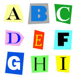 Cut out letters A to I Stock Images