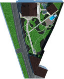 Cut out master plan, landscaping 3D render. Natural character of the site into the design. Site development plan Royalty Free Stock Photo