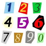 Cut out number set Royalty Free Stock Photos
