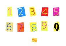 Cut out numbers. 1 to 10 colorful numbers, percentage tag Stock Image