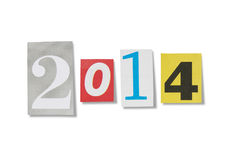 Cut out numbers 2014 Royalty Free Stock Photography