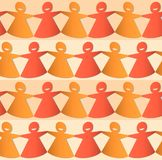 Cut out paper chain female figures in shades of orange and yellow vector illustration