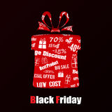 Cut out the paper in shape gift box for black friday Royalty Free Stock Photos
