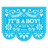 It`s a boy Papel Picado  design - Mexican folk art baby birth greeting card or baby shower invitation. Baby arrival decorati Royalty Free Stock Image