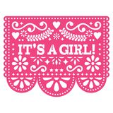 It`s a girl Papel Picado  design - Mexican folk art baby birth greeting card or baby shower invitation. Baby arrival decorat. Cut out paper template with flowers Royalty Free Stock Photos
