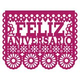 Feliz Aniversario Papel Picado  design - Happy Anniversary greeting card, Mexican folk art paper banner. Cut out paper template with flowers and abstract shapes Royalty Free Stock Images