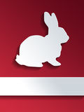 Cut out rabbit shape with blank label Royalty Free Stock Photo