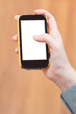 Cut out screen of mobile phone in hand Stock Image