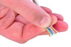 Cut out of telephone cable. Stages Of The Process Stock Image