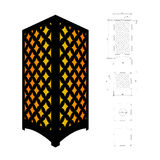 Cut out template for lamp. Candle holder, lantern or chandelier plywood 3mm.  Shadow box with oriental geometric design. Scheme is suitable for a laser cutting Stock Images