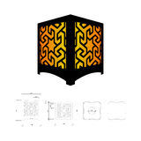 Cut out template for lamp. Candle holder, lantern or chandelier plywood 3 mm.  Shadow box with oriental geometric design. Scheme is suitable for a laser Royalty Free Stock Image
