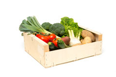 Cut Out of Wooden Crate Filled with Assorted Fresh Vegetables Stock Photo