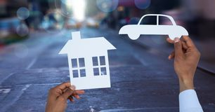 Cut outs house and car on street Stock Image